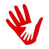 Tre händer på händer, välgörenhetsymbol, organisation av volontärer, familjgemenskap royaltyfri illustrationer