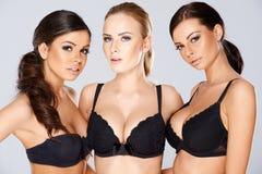 Tre härliga kvinnor som modellerar svart damunderkläder Royaltyfri Foto