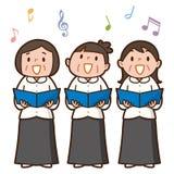 Tre höga kvinnor som tillsammans sjunger vektor illustrationer