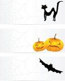 Tre halloween baner med en cobweb vektor illustrationer