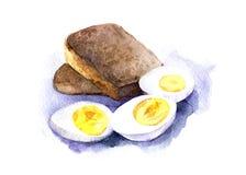 Tre halva kokta ägg med gula äggulor och två skivor av svart bröd Hand dragen vattenfärgillustration som isoleras Arkivbild