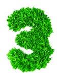 tre Handgjort nummer 3 från gröna rester av papper Arkivfoto