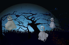 Tre hanno appeso i fantasmi su Halloween Fotografia Stock