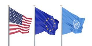 Tre hanno colorato le bandiere seriche nel vento: U.S.A. Stati Uniti d'America, E. - Unione Europea ed organizzazione delle nazio illustrazione vettoriale