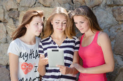Tre hanno imbarazzato gli amici di adolescenti che considerano il pc della compressa il giorno di estate Fotografia Stock