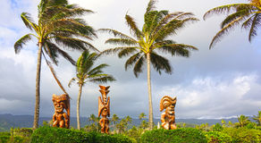 Tre hawaiano Tiki God Sculptures Fotografie Stock