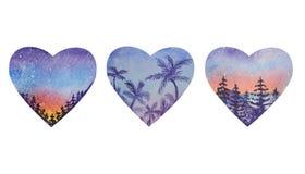 Tre hjärtaformer med ett soluppgånglandskap inom stock illustrationer