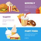 Tre horisontalbaner av snabbmatvektorillustrationer med hamburgaren, smörgåsen, glass och förkylningdrinkar royaltyfri illustrationer