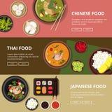 Tre horisontalbaner med thai, japansk och kinesisk mat Vektorillustrationer med stället för din tex vektor illustrationer
