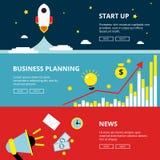 Tre horisontalrengöringsdukbaner av affärs- och teknologioptimization Advertizingillustrationuppsättning i plan stil royaltyfri illustrationer
