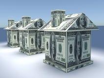 Tre hus 3d från pengarna äganderätt för home tangent för affärsidé som guld- ner skyen till Royaltyfri Illustrationer
