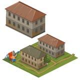 Tre hus och lyxfnask på gatakläder som ska torkas royaltyfri illustrationer