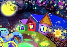 Tre hus på natten Arkivfoton