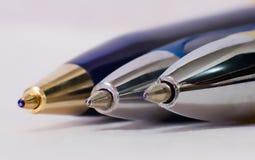 Tre huvud för pennor för bollpunkt Arkivbilder