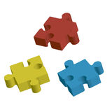Tre i stora partier av pussel. Vektorillustration Vektor Illustrationer