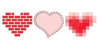 Tre icone dei cuori per il giorno di biglietti di S. Valentino Immagini Stock