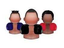 Tre icone del pugile Fotografia Stock