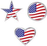 Tre icone della bandiera americana Fotografia Stock