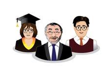 Tre icone della gente della scuola Immagini Stock