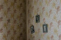 tre immagini con i gatti sulla parete Fotografie Stock