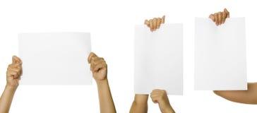 Tre immagini del segno della holding della mano Immagine Stock