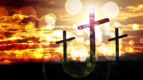 Tre incroci fanno segno al fondo per elogio e culto stock footage