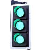 Tre indicatori luminosi verdi Fotografie Stock