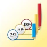 Tre infographic blyertspennor infographic begrepp Royaltyfria Foton