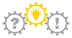 Tre ingranaggi grafici mettono in discussione l'idea e la risposta Gray Yellow Outline royalty illustrazione gratis