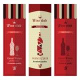 Tre insegne con vino differente Fotografia Stock Libera da Diritti