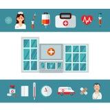 Tre insegne orizzontali mediche con le icone mediche in styl piano illustrazione di stock