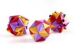 Tre insiemi di origami Fotografia Stock
