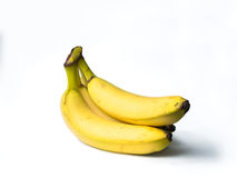Tre isolerade bananer Royaltyfria Bilder