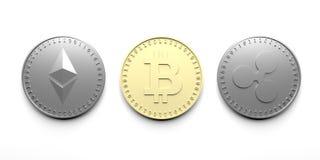 Tre isolerade mynt på en vit bakgrund - Bitcoin, Ethereum, krusning, tolkning 3D vektor illustrationer