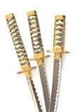 Tre japanska samurajkatanasvärd Royaltyfria Bilder
