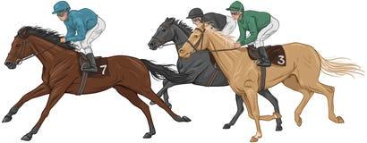 Tre jockey på deras kapplöpningshästar Royaltyfria Foton