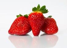 Tre jordgubbar med reflexion Royaltyfria Bilder