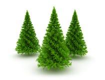 Tre jul sörjer träd Arkivfoto