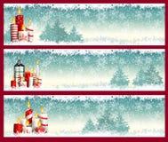 Tre julbaner med stearinljus och snöflingor stock illustrationer