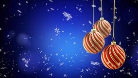 Tre julbollar som hänger på band på blått, snöar bakgrund stock illustrationer