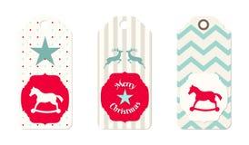 Tre juletiketter i sjaskig chic stil Royaltyfria Foton
