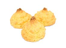 Tre kakor med kokosnötter Royaltyfria Bilder