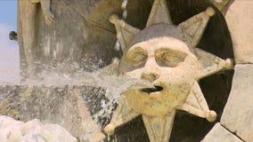 Tre kameraskott från den Venus springbrunnen eller mariblancaen, brett skott och närbild två Springbrunn, stjärnor och fisk Aranj lager videofilmer