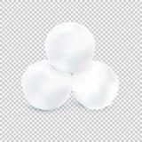Tre kastar snöboll isolerat på genomskinlig bakgrund Vektorillus Arkivbilder