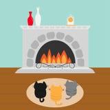 Tre kattungar på mattfilten som ser till spisen med den vasuppsättningen och klockan Liten kattfamilj Samling för älsklings- djur Royaltyfri Fotografi