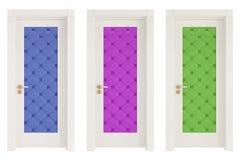 Tre klassiska dörrar med läderupholstery vektor illustrationer