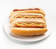 Tre klassiska Hotdogs Arkivfoton