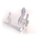 Tre klaver och musik Royaltyfri Fotografi