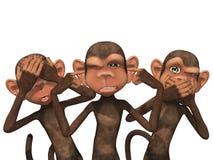 Tre kloka apor Arkivfoton