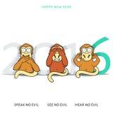 Tre kloka apor och nytt års inskrift 2016 stock illustrationer